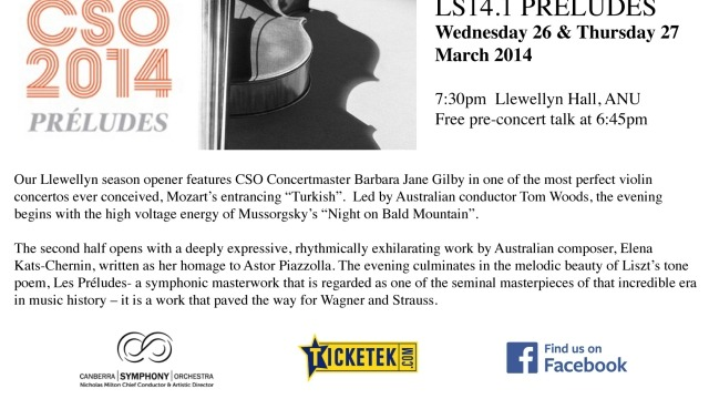 Canberra Symphony Orchestra LS14.1 Preludes