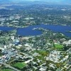 Aerial photo of The Australian National University and Canberra, Australia
