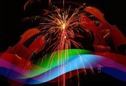 Violins Fireworks Rainbow flag
